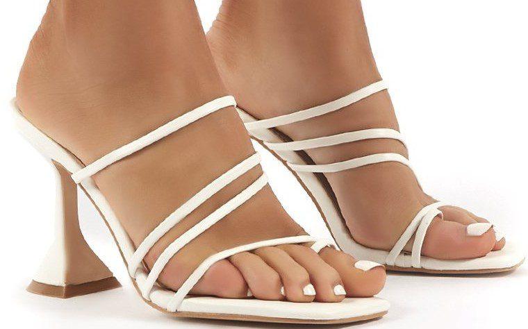 Evie White Strappy High Heels-Public Desire