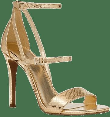 Gold Cardi Metallic Snake Embossed Leather Sandal-Michael Kors