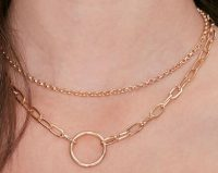 Gold Circle Pendant Layered Necklace