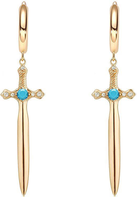 Gold Cross Hoop Huggie Earrings-WEARON