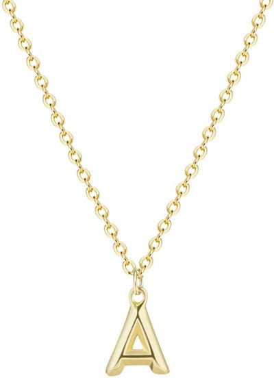 Gold Initial Necklace-HXYHJY