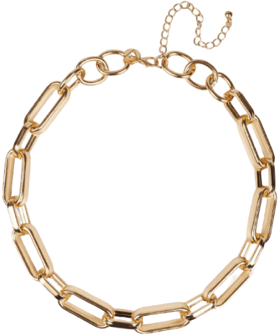 Gold Look Rectangle Link Chain Necklace-Missguided