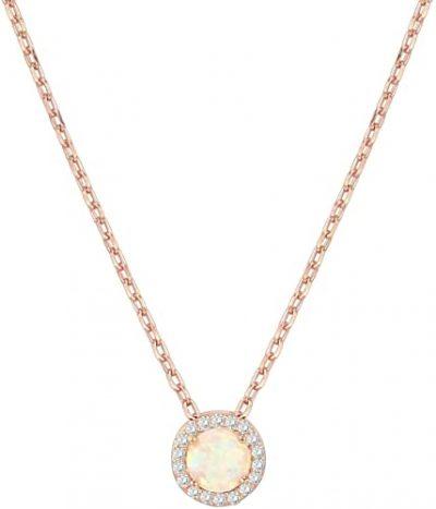 Gold Opal Pendant Halo Necklace-PAVOI
