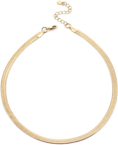 Gold Plated Herringbone Link Necklace-NUZON