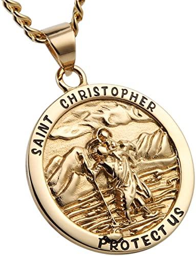 Gold St. Christopher Pendant Necklace-HZMAN