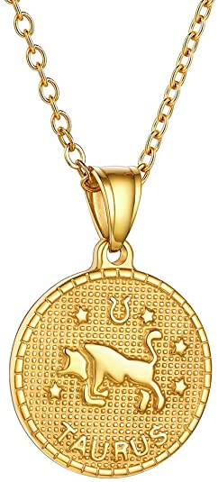 Gold Taurus Coin Necklace