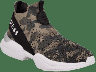 Green Cammo Platform Mid-Top Sneakers