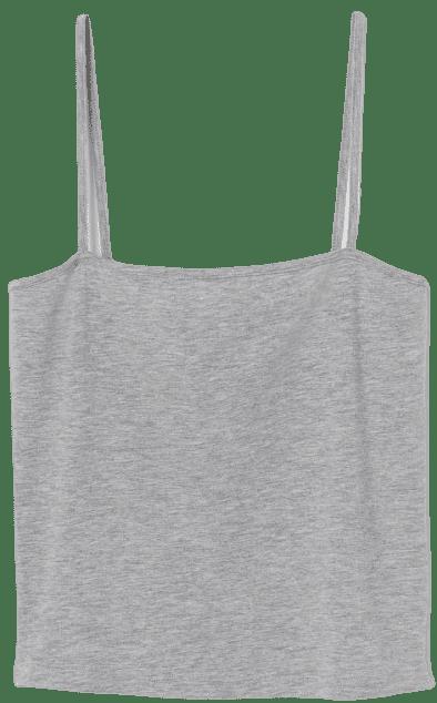 Grey Melange Cropped Jersey Camisole Top