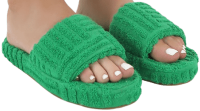 Juicy Green Terry Towelling Slider-Public Desire