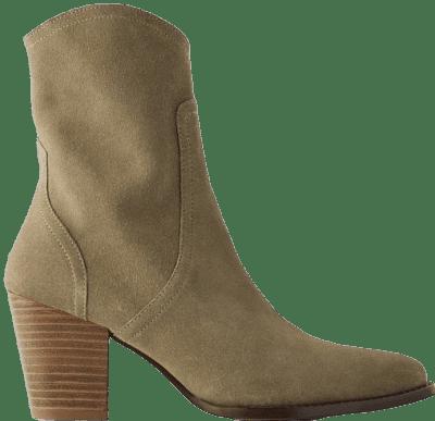 Khaki Green Heeled Split Leather Cowboy Ankle Boots