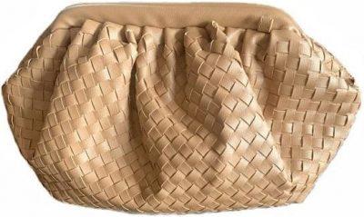 Khaki Large Woven Faux-Leather Cloud Bag-Baltic Guild