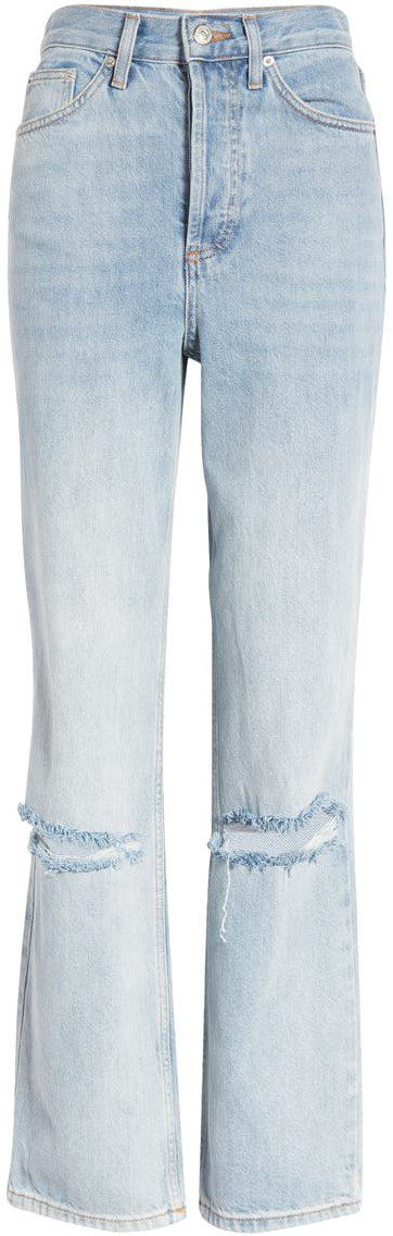 Kort Bleach Rip Straight Leg Jeans-Topshop