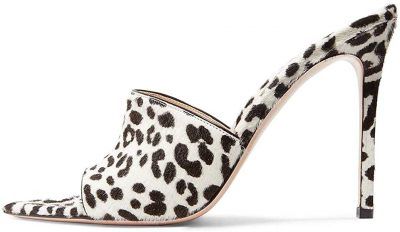 Leopard Print Open-Toe Stiletto Mules