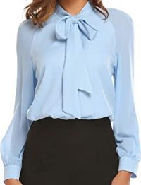 Light Blue Bow Tie Neck Chiffon Blouse