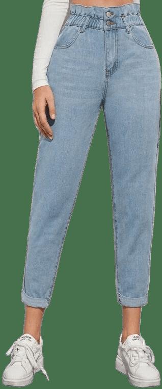 Light Wash High-Waisted Paperbag Waist Jeans-Shein
