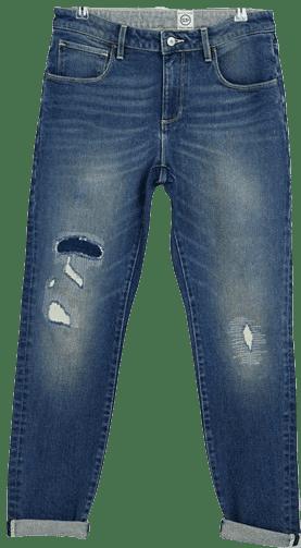 Mid Wash Blue-Slim Vintage Ripped Jeans