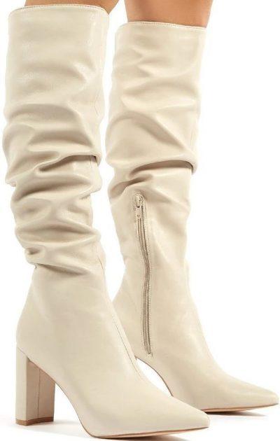 Mine Beige PU Knee High Boots-Public Desire