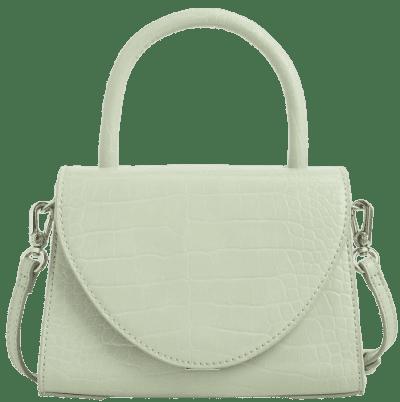 Mint Green Croc-Effect Structured Top Handle Bag