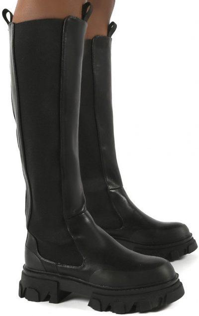 Monique Black Chunky Sole Knee High Boots-Public Desire