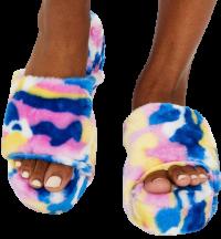 Multicolor Camo Always Classy Furry Slides