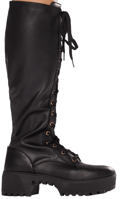 Night Pick Me Up Knee High Combat Boots