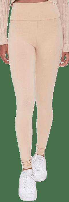 Nude Cotton-Blend High-Rise Leggings-Forever 21