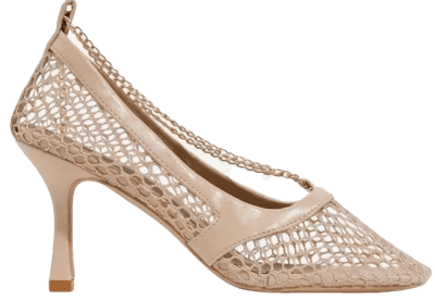 Nude Faux Leather Montag Square-Toe Fishnet High Heels
