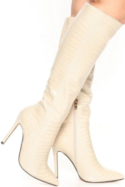 Nude You're Electric Heeled Boots-Fashion Nova