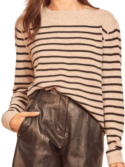 Oatmeal Stripe Cashmere Boyfriend Sweater