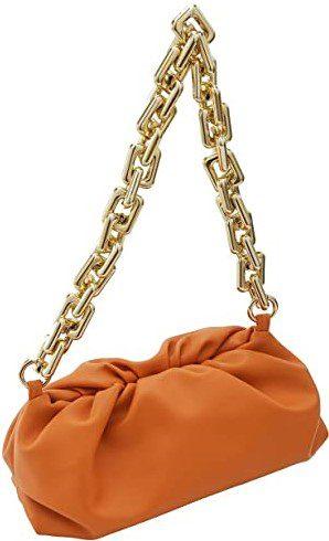 Orange Chunky Chain Cloud Pouch-alilove