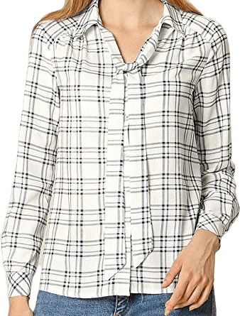 Plaid Tie Neck Office Button Up Shirt