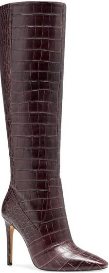 Red Violet Croco Knee-High Booots