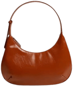 Russet Leather-Effect Baguette Bag-Mango