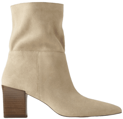 Sandy Brown Soft Split Leather Heeled Ankle Boots