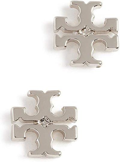 Silver Logo Stud Earrings-Tory Burch