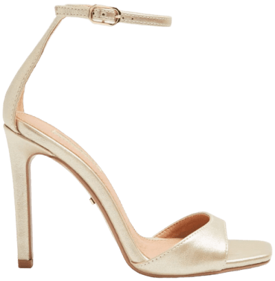 Silvy Gold Skinny Two Part Heel Sandals-Topshop