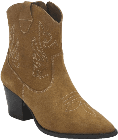 Tan Suede Western Ankle Boots-Missguided