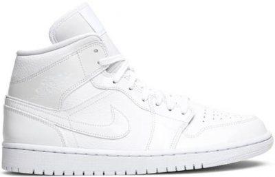 Triple White Air Jordan 1 Mid Shoe-Nike