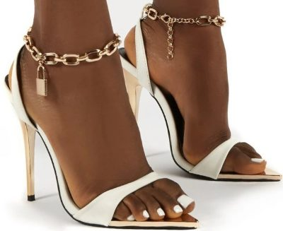 Triumph White Lock Chain Detail Stiletto Heels-Public Desire