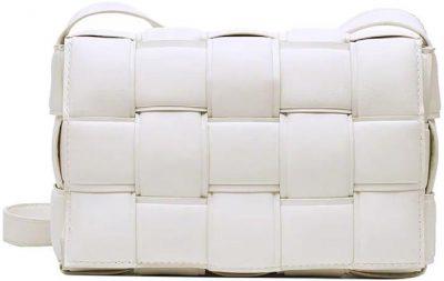 White Christin Intrecciato Faux Leather Cross Body Bag-Goodnight Macaroon