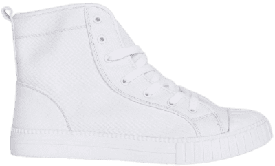 White Chunky Sole Canvas High Top Sneakers-Boohoo
