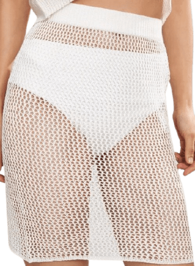 White Crochet Hollow-Out Cover Up Skirt-Shein