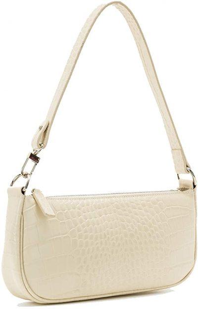 White Crocodile Pattern Retro Shoulder Bag
