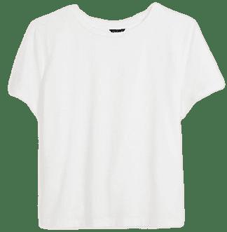 White Cropped Pima Cotton Tee-Ann Taylor