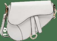 White Faux Leather Croc Saddle Shoulder Bag-Nasty Gal