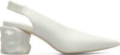 White Juanita Pointed Toe Slingback Pump-Camper