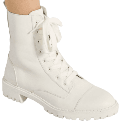 White Lace-Up Flat Leather Ankle Boot-Bershka
