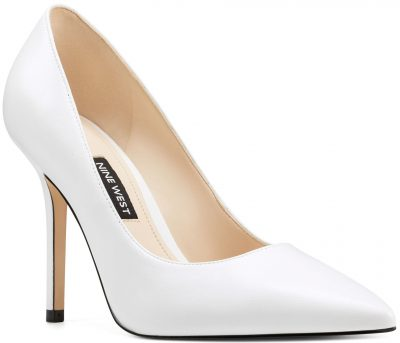 White Leather Bliss Pointy Toe Pumps-Nine West