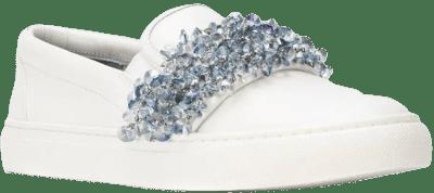 White Logan Embellished Slip-On Sneakers