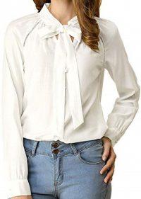White Long Sleeve Bow Tie Neck Blouse-Allegra K